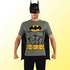 Mens Batman T-Shirt Superhero Costume Super Hero Halloween Party Outfit & Mask
