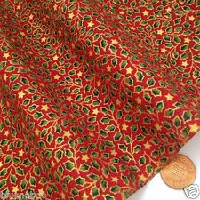 Red & gold tiny holly  Christmas Fabric 100 % cotton  per 1/2 mtr or per FQ