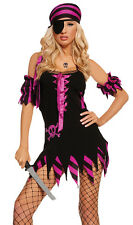 Shipwrecked Wench Pirate Costume Dress Scarf Patch Black Light Receptive 9523