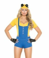 Sexy Subordinate Costume Romper Top Suspenders Fingerless Gloves Hat Minion 9134