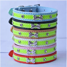 Reflective Leather Dog Collar Designer Bone Studded Collar For Small Dogs Buckle