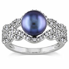 Miadora 10k White Gold Cultured Freshwater Pearl and 1/5ct TDW Diamond Ring (G-H
