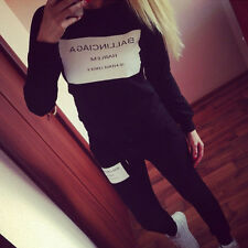 Women 2Pcs Letter Print Tracksuit Hoodie Sweatshirt Coat+Pants Casual Sport Suit