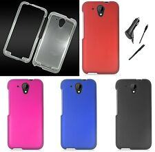 For HTC Desire 520 Color Hard Shield Cover Case Protector CAR CHARGER STYLUS PEN