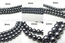 3mm/4mm/6mm/8mm/10mm/12mm Glass Pearl Round Spacer Charm Loose Beads Gold Color