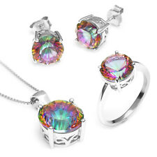 Round Natural Rainbow Topaz Earring Ring Pendant Chain 925 Sterling Silver