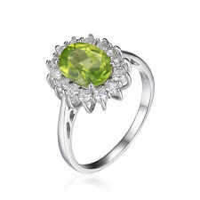 JewelryPalace 3ct Princess Genuine Peridot Halo Ring Solid 925 Sterling Silver