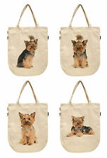 Women Yorkshire Terrier Printed Canvas Tote Shoulder Bags WAS_39