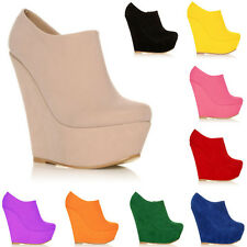 Womens' Ankle Boots Wedges High Heels Platform Wedge Suede Shoes