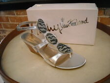 Kathy Van Zeeland 'Goldie' Silver Jeweled Wedge Sandal NEW