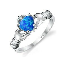 Lab Created Blue Black Fire Opal IIrish Celtic Claddagh Ring Solid 925 Sterling