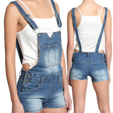 TheMogan Denim Festival Medium Washed Shortalls Jean Short Overall Romper