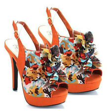 Qupid Leopard Pink Orange Purple Peep toe Pump High Heel Slingback Women's Shoes