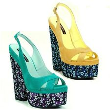 Mustard Turquoise Open toe Wedge Slingback Floral Platform Heel Women's Shoes