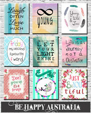 TEENAGE BEDROOM QUOTE PRINTS ON STRETCHED CANVAS set OF 3 ea 50x60x4cm