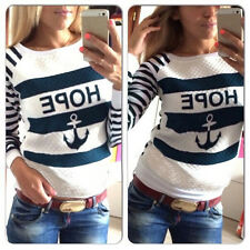 Fashion Chic Casual Womens Round Neck Pullover T-Shirt Long Sleeve Tops Blouse