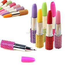 Multi-Color Rhinestone Crystal Stationer Lipstick Shape Ballpoint Pen Ballpen