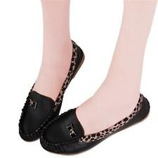 Women Gilr's Leopard Shoes Flat Oxfords Round Toe Doug Moccasin Casual Shoes LG
