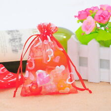 Wholesale lot 9x12cm Red Heart Organza Gift Bags Wedding/Christmas Favor