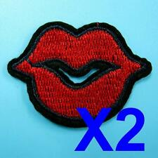 2 Red Lips Sexy Sequins Iron on Sew Patch Applique Badge Embroidered Biker Motor