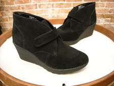 White Mountain Kix Black Suede Monk Strap Wedge Ankle Boots New