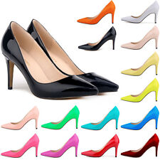 Women's Pointed Mid High Heels Pointed Corset Working Party Pumps Court Shoes