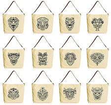 Vietsbay Aztec Monster m Mask Printed Canvas Bag with Leather Strap WAS_29