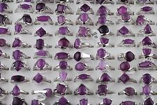 Wholesale Jewelry Lots Fashion Unisex Retro Amethyst Crystal Silver Plated Rings