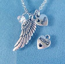 Silver Angel Wing Mom Necklace Pendant Protection +Crystal on Chain Mothers Day