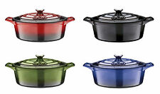 Large Family Oval 29cm Cast Iron Casserole Dish Kitchen Oven Hob Cooking Pot Lid