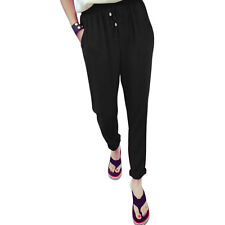 Ladies Elastic Waist Mid Rise Two Slant Pockets Casual Pants