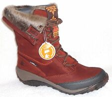 NEW CUSHE ALLPINE CONE RED BROWN LEATHER COLD WEATHER BOOTS FURRY TRIM