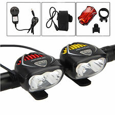 6000Lm 3X CREE XM-L T6 LED Front Headlight Bicycle Lamp Bike Head Tail Light Set