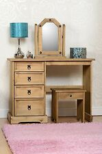 Corona Wooden Dressing Table Set with Stool and Mirror - Distressed Waxed Pine