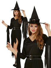 ADULT WOMENS HALLOWEEN BLACK GOTHIC WITCH ONE SIZE - W/ OPTIONAL BLACK WITCH WIG