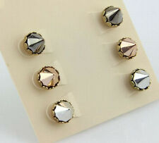3 Pairs/Set Punk Rock Europe Rivets Style Alloy Lady Stud Club Earrings 2 Color