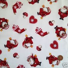 Cream Cheeky Santa Christmas fabric 100 % cotton per 1/2 mtr or per FQ