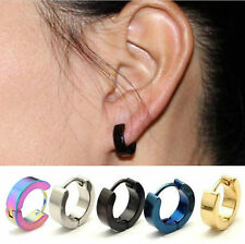 new Punk Mens Women Stainless Steel Hoop Huggies Ear Stud Earrings Gothic 2pcs