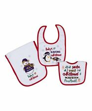 Baltimore Ravens Baby's 1st Christmas 2 Bibs and 1 Burp Cloth Set (3-Piece)