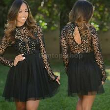 Sexy Womens Evening Party Cocktail Lace Mesh Long Sleeve Skater Short Prom Dress
