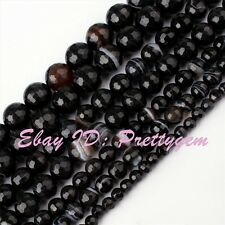 """4.6.8.10mm Faceted Round Stripe Black Agate Gemstone Spacer Beads Strand 15"""""""