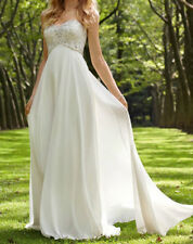 New Chiffon white/ivory wedding dress Bride Gown size 4-6-8-10-12-14-16-18+