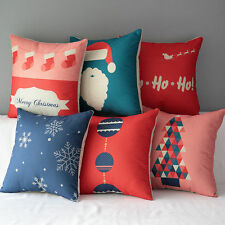 Merry Christmas Tree Hat Snowflake Cotton Cushion Cover Pillow Case Home Decor