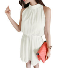 Women Halter Neck Stand Collar Sleeveless Elastic Waist Chiffon Dress