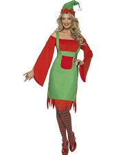 Adult Womens Cute Elf Costume Red and Green Smiffys Fancy Dress Costume