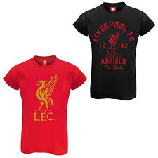 Liverpool FC Official Football Ladies Glitter Print T-Shirt Soccer Gift
