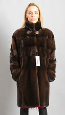Dark brown mink fur coat - partly pelts across