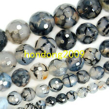 "6/8/10/12/14mm Natural Black Dragon Veins Agate Round  Loose Beads 15"" Choose Sz"