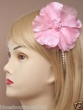 Pearl Bead Aliceband with Large Fabric Flower Pink/Lilac and White