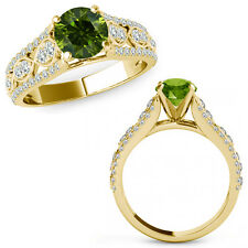 1 Ct Green Diamond Lovely Solitaire Halo Anniversary Ring Band 14K Yellow Gold